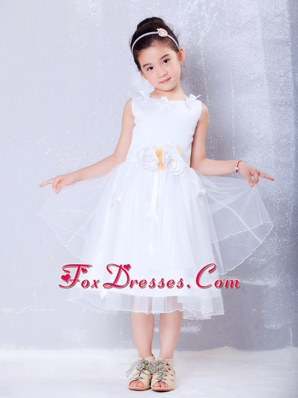 Tea-length White Scoop Hand Made Flowers Flower Girl Dress