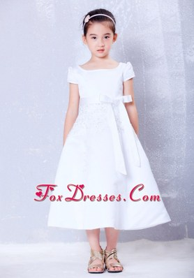 A-line Scoop Tea-length Beading and Bow Flower Girl Dress