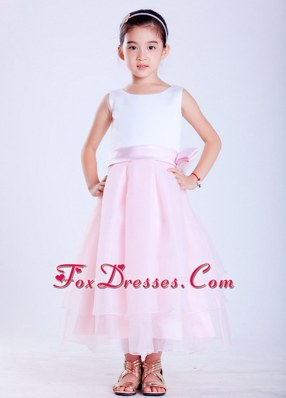 White and Pink Scoop Taffeta Flower Girl Dress