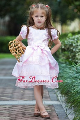 A-line Scoop Tea-length Taffeta and Lace Bow Flower Girl Dress