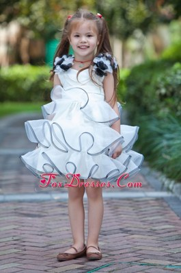 White V-neck Hand Made Little Flower Girl Dress