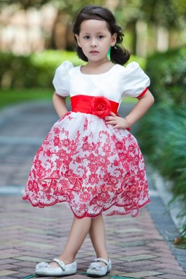 A-line Scoop Hand Made Flowers Flower Girl Dress