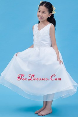 White V-neck A-line Ankle-length Flower Girl Dress Cheap