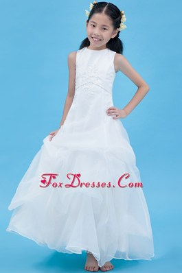 White A-line Scoop Appliques and Beading Flower Girl Dress