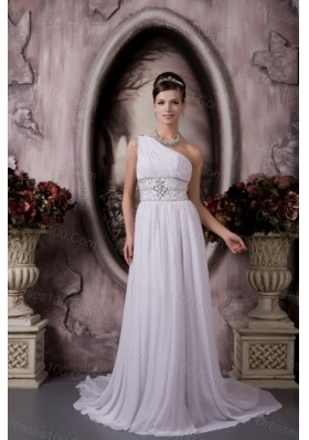 One Shoulder Cheap Court Train Chiffon Wedding Dress
