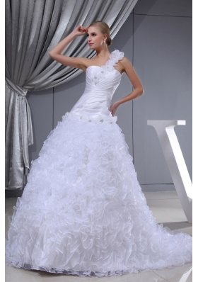 Ruffles Hand Made Flowers A-line One Shoulder Beading Wedding Dress
