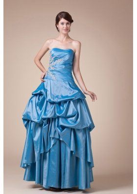 Teal Beading Pick-ups Long Strapless A-line Prom dress