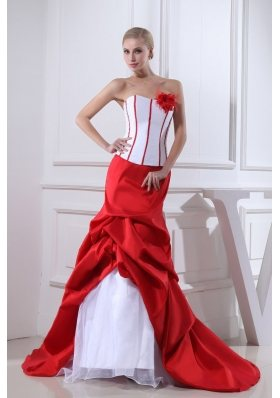 Pick-ups Mermaid Strapless Hand Made Flower Red Wedding Dress