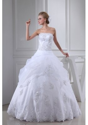 Appliques With Beading Strapless Ball Gown Floor-length Wedding Dress