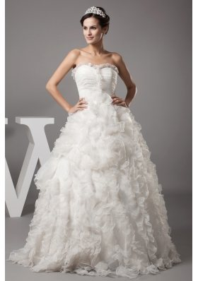 Ball Gown Beading Sweetheart Floor-length Ruffles Wedding Dress