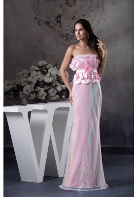 Hand Made Flowers Strapless Long Column / Sheath Prom Dress