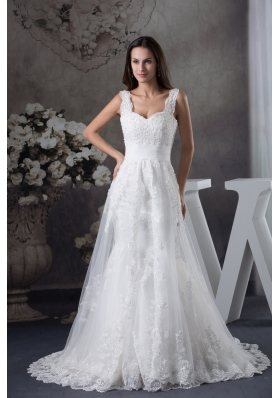 Straps Lace Brush Train A-line Wedding Dress