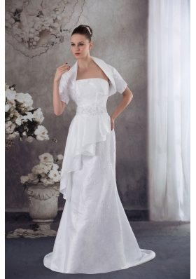 Strapless Column Jacket Beading Appliqes Wedding Dress
