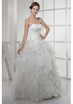 Strapless Ruffles Long A-line / Princess Wedding Dress