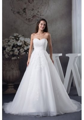 A-line Sweetheart Appliques Tulle Wedding Dress
