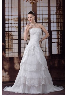 Ruffled Layers Strapless Lace Hand Made Flower Pleat Wedding Dress