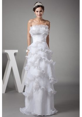 Ruffles Column / Sheath Strapless Long Wedding Dress