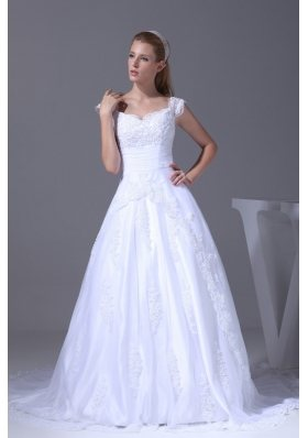 V-neck Caps Sleeves Lace Court Train A-line Wedding Dress
