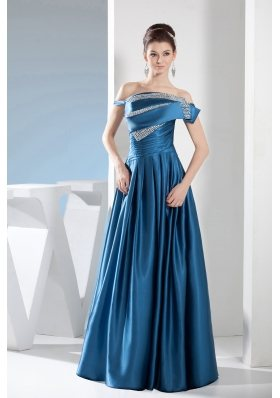 Teal Column Off the Shoulder long Beading Prom Dress