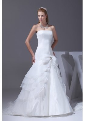 Mermaid Bow Beading Strapless Court Train Wedding Dress