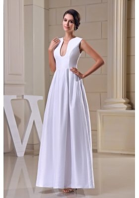 A-line V-neck Ankle-length Taffeta Wedding Dress