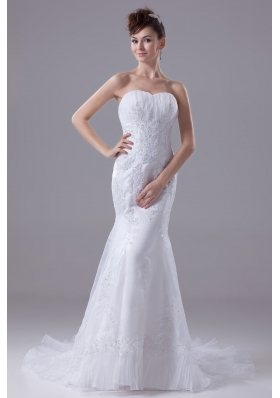 2013 Lace Appliques Mermaid / Trumpet Sweetheart Wedding Dress