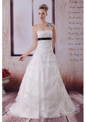 Appliques Halter Brush Train A-Line Wedding Dress in White