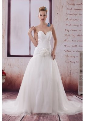 Handle Made Flower A-Line Court Train Sweetheart Wedding Dress
