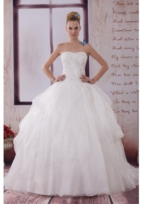 Appliques Strapless Brush Train Ball Gown Wedding Dress