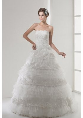Lace Strapless A-line / Princess Wedding Dress With Brush Train
