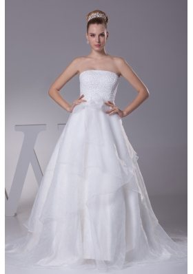 Beading Strapless Court Train A-Line Wedding Dress with Zipper-up