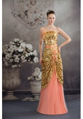 Hand Made Flowers Sequins Strapless Prom / Evening Dress