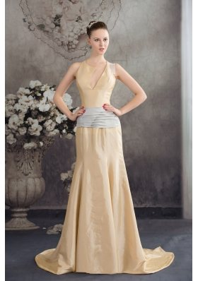 2013 Designer Column Sash Brush Train Prom Dress