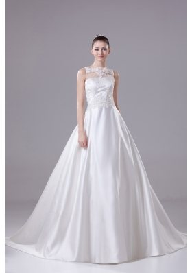 Bateau Neck New A-line / Princess Lace Wedding Dress