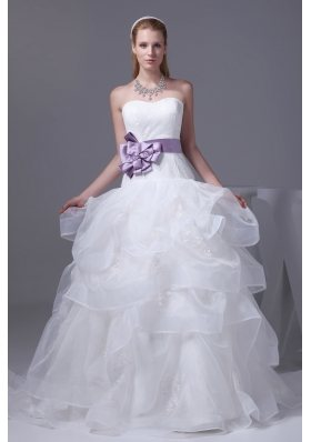 Lace Appliques Hand Made Flower Ruffles Wedding Dress