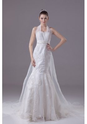 Lace Beading and Appliques Court Train Mermaid Halter Wedding Dress