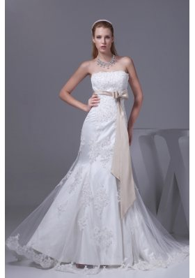Lace Sash Strapless Mermaid Court Train Wedding Dress