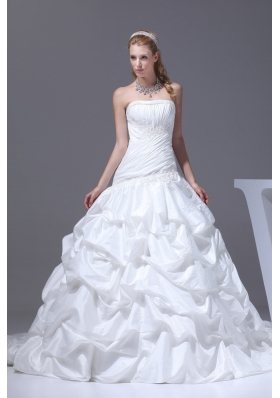Pick-ups A-line Court Train Strapless Wedding Dress
