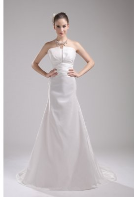 A-line Strapless Ruching Taffeta Wedding Dress