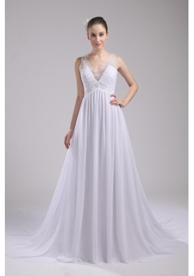 A-line V-neck Ruching Beading Wedding Dress