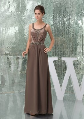 Beaded Decorate Brown Straps Long Mother of the Bride Dresses
