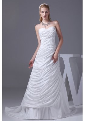 Beading Ruching Sweetheart Brush Train Wedding Dress