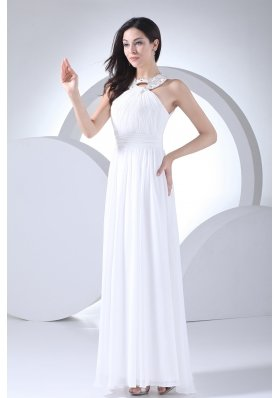 Column High-neck Ruching Beading Wedding Dress