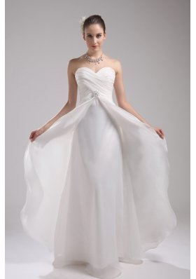 Column Sweetheart Ruching Organza Wedding Dress