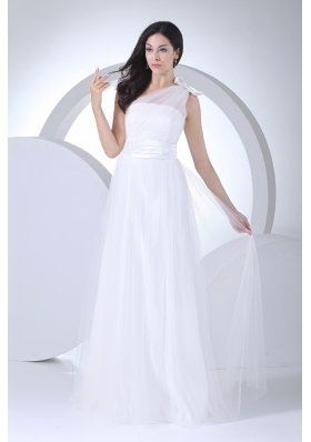 Empire One Shoulder Ruching Bow Wedding Dress