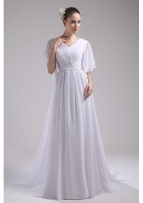 Empire V-neck Ruching Half Sleeves Cheap Wedding Dress
