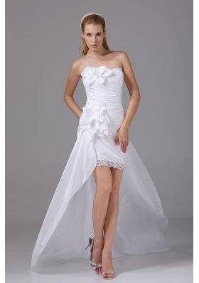 High-low Strapless Hand Made Flowers Taffeta Wedding Dress