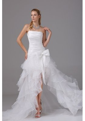 High Low Strapless Ruching Bow Organza Wedding Dress