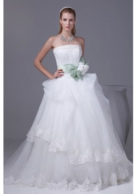 Lace Sash With Hand Made Flower A-line Wedding Dress