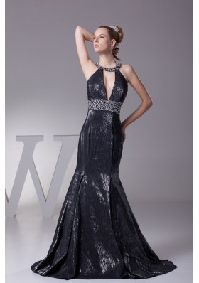 Mermaid Halter Top Mermaid Beading Black Prom Dress